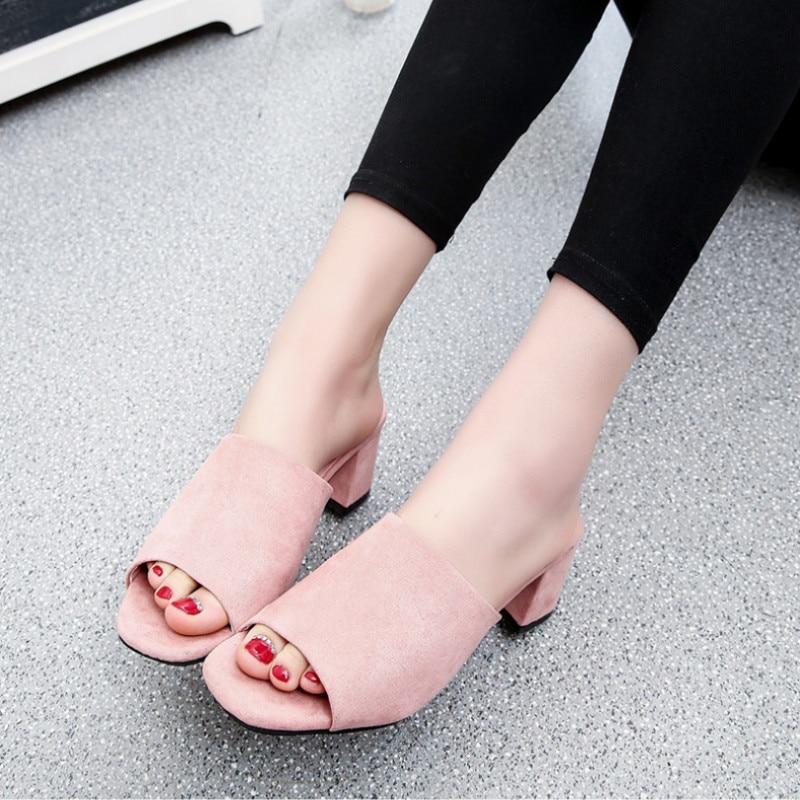 Pantoufles Talon Épais 2018 Femmes Toe camel grey Black Chunky Confortable Peep Femme Mules Talons Casual Troupeau pink Printemps Chaussures wEPqzR
