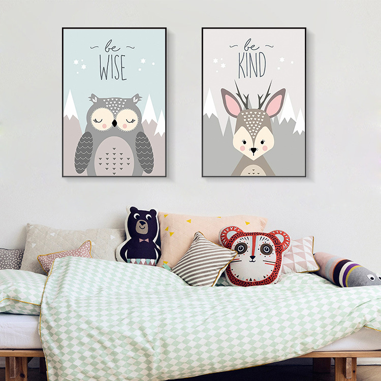 Cartoon Fox Bear Deer Owl Quotes Wall Art Canvas Painting Nordic Posters And Prints Animal Wall Pictures Kids Room Bedroom Decor in Wall Stickers from Home Garden