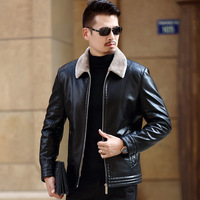 Hot sale Exports Russian Leather Jacket Men Coats Brand High Quality PU Outerwear Men Business Winter Faux Fur Male Jacket 4xl