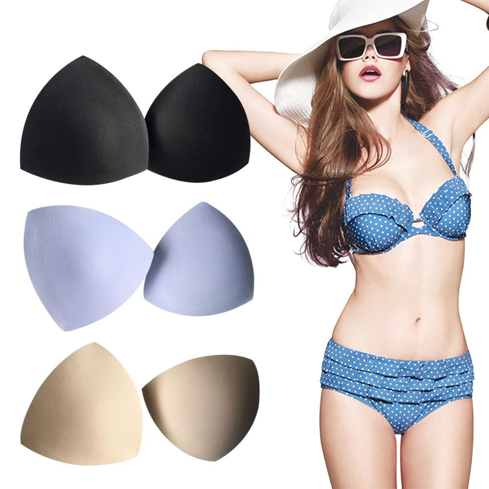 Women Triangle Cups Bikini Sports Bra Pad Chest Push Up Insert Foam Pads Swimsuit Padding Accessories