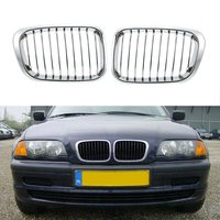 Car Style 1Pair Plated Chrome Silver Front Grilles for BMW E46 4 Door 98 01 Car Accessories