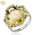 Hutang enorme natural lemon cuarzo plata esterlina del sólido 925 de coctel del partido del anillo de piedras preciosas y joyería fina