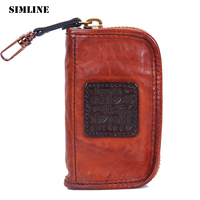 SIMLINE Genuine Leather Key Wallet Men Vintage Luxury Zipper Car Key Wallets Case Card Holder Case Bag Housekeeper Organizer Man