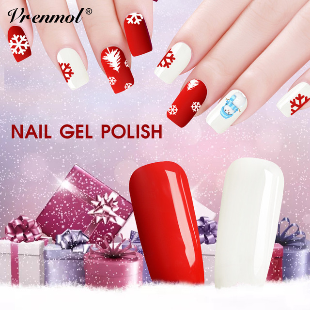 Vrenmol Pure White Red Color Nail Polish Esmalte Christmas Gift Manicure Kit Design Uv Gel