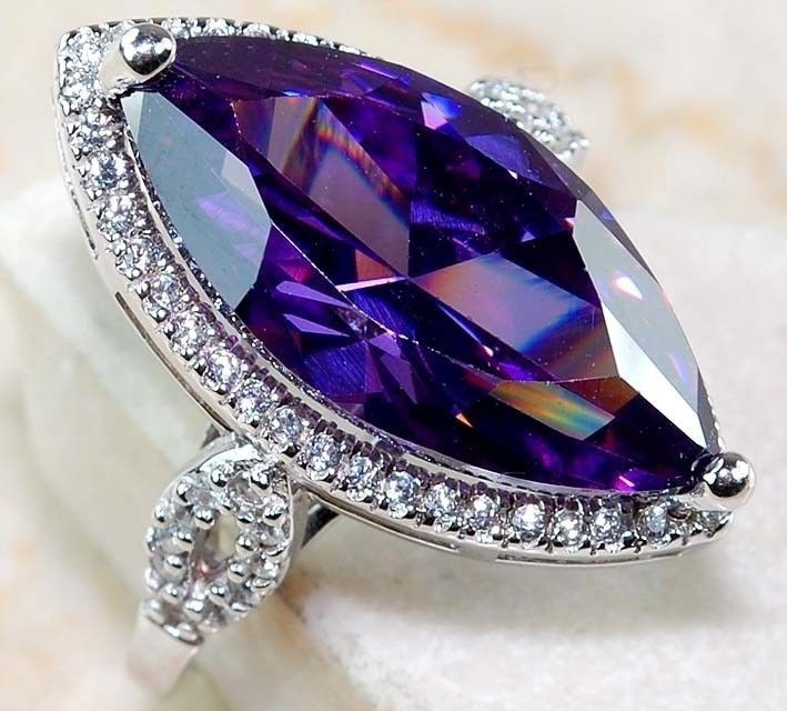 Hot Sale Oval Purple Semi-precious Stone 925 Silver Purple Mysterious Zircon Ring, Massive Olivine Shape Wedding Ring Girl