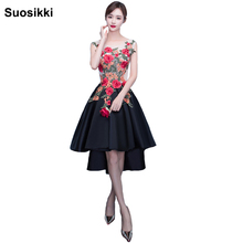 High-low 2017 Evening Dresses Fashion Vestidos Embroidery beading stain formal prom party dress robe de soiree