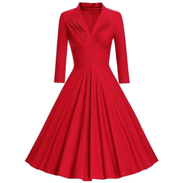 208af3f9ba248 Kenancy Women Plus Size Vintage Dress Pleated Plunging Neck Long Sleeve  Retro Dresses Autumn A-Line Party Dresses Tunic Vestidos