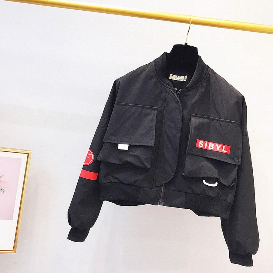 Femmes Bolero 2018 Noir Hop Streetwear red Automne Veste Court Hip 50b0083 Baseball Steampunk Courte Black Coréenne Bomber Manteaux qwxtBAO