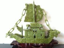 RARE 100% Chinese Natural jade Hand-carved Rare Dragon Boat yifanfengshun