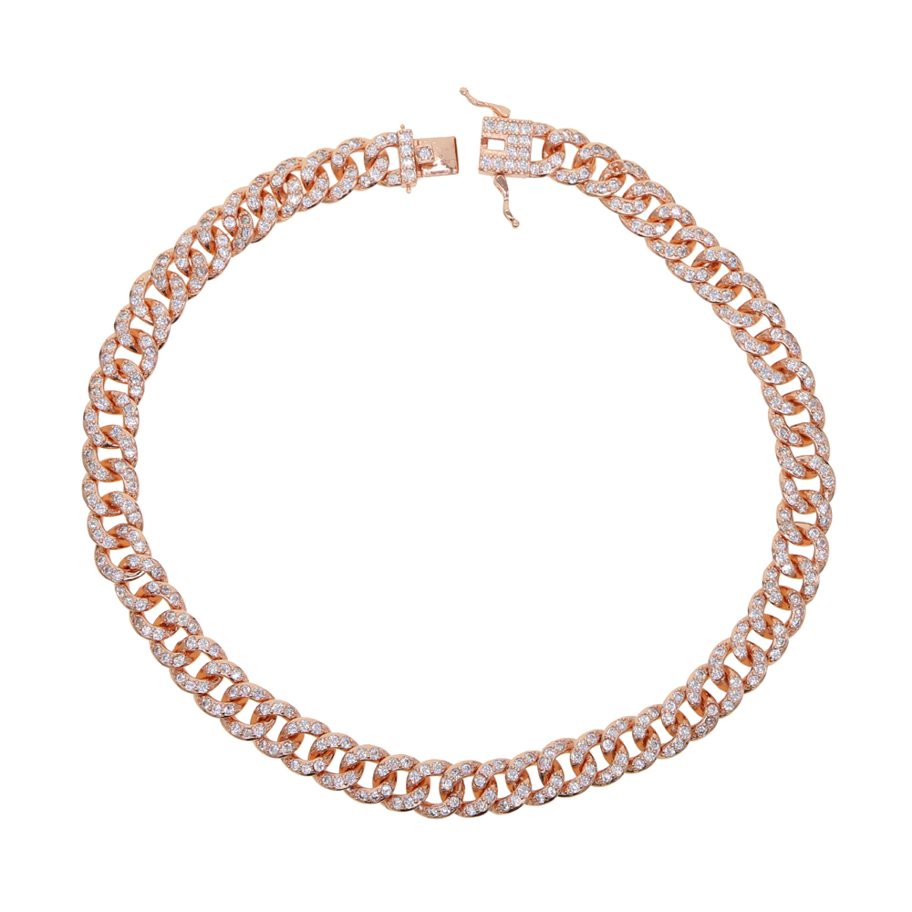 Image 5 - 38cm rose gold color full cz miami cuban link chain sparking bling women hip hop bling choker chain necklace-in Chain Necklaces from Jewelry & Accessories