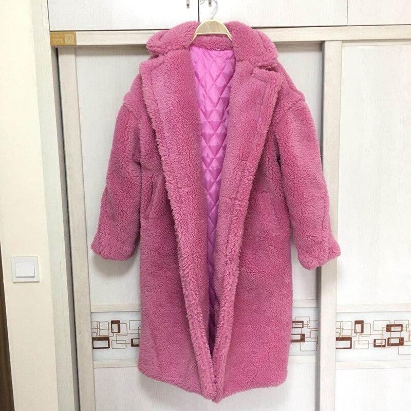 LE BATEAU MAINTENANT Faux de fourrure chaud épais bouclés teddy manteau nouvelle collection tendance vêtements d'hiver oversize avec sous pare-brise 2 couleur