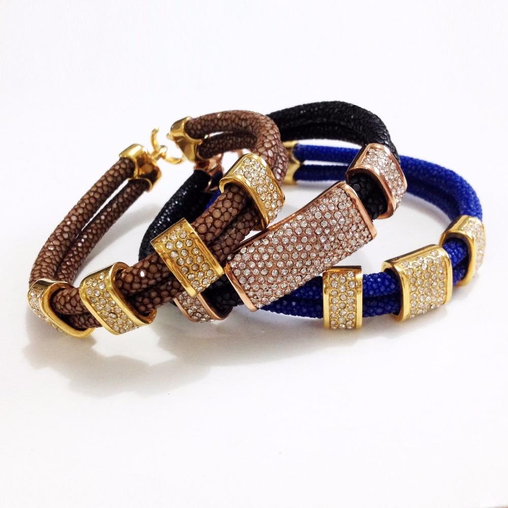 Nouveauté Bracelet en cuir Stingray marron véritable 5mm bracelet en cristal stingray pour hommes et femmes - 6