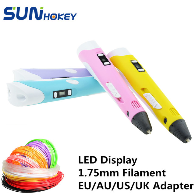 New Arrival Sunhokey Sun-Pen 1.75mm PLA ABS 3D Pen 3D Printing Pen Power Adapter 30M filament included Christmas Birthday gift