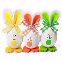 3PCs New Cute Bunny Shaped Easter Eggs Hanging Gift Kindergarten Decor Child 3 Styke  Events Party Gadgets Assortment Ornament