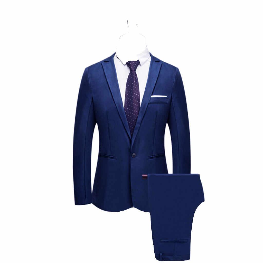 2019 New Arrvial Spring Autumn Suit Men With Pants For Wedding Slim Button Suit Pure Color Dress Blazer Trajes Hombre Vestir