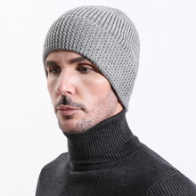 Men Beanie Angora Winter Knit Hat Warm Autumn Casual Outdoor Ski Accessory Wool Soft Solid Color