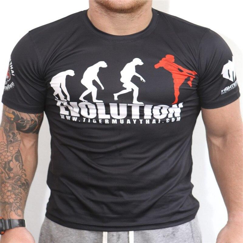 Mens T-shirt Black Short Sleeve Fight MMA Fighters Boxing Muay UFC Skull Winner