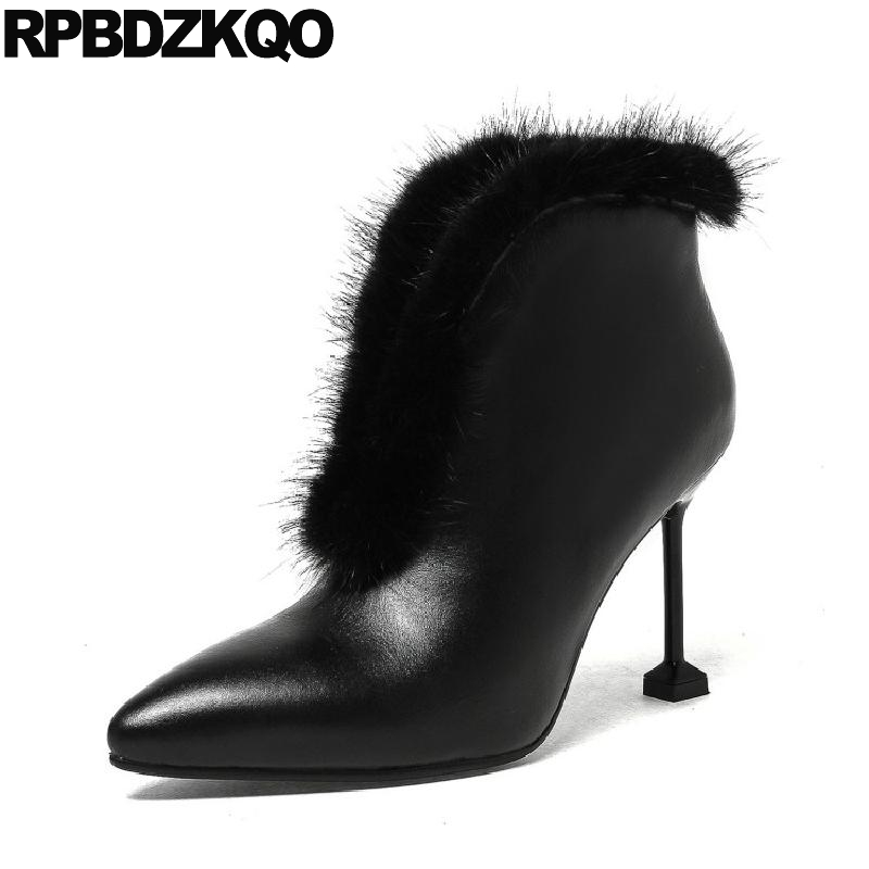 Women Boots Winter 2017 Fur Mink Pointed Toe Designer High Heel Ankle Sexy Genuine Leather Booties Shoes Slip On Stiletto Black