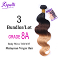 8A Malaysian virgin hair wigs for black women ombre body wave Malaysian hair weave bundles 1B/4/27 Body Wave Ombre hair 3Pcs/Lot