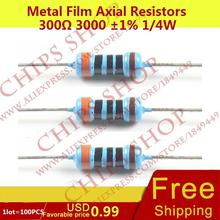1LOT=100PCS Metal Film Axial Resistors 300ohm 3000 1% 1/4W 0.25W Wattage1/4W resistor assorted(China (Mainland))