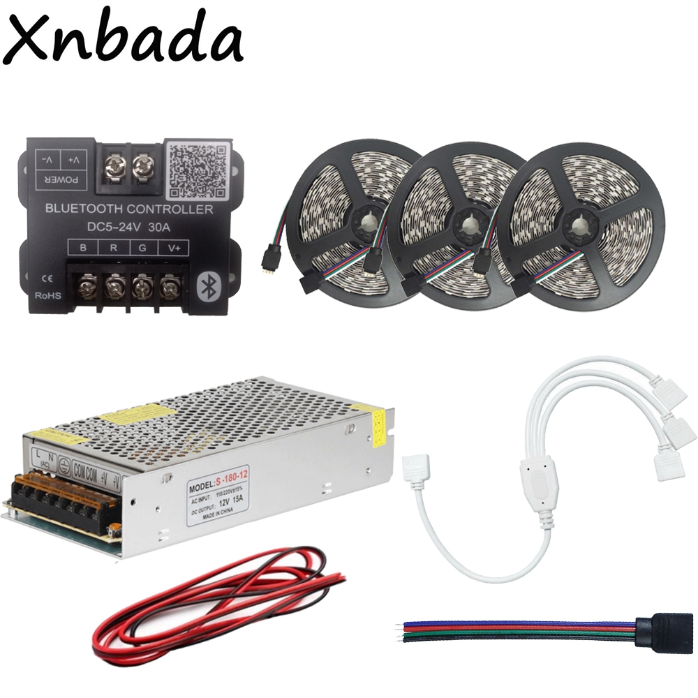 15M 5050 60Led/m RGB Led Strip Led Flexible Light Tape+Bluetooth Led Controller+12V 15A Led Power Supply Adapter Kit led strip light 5050 rgb waterproof 30led m diode flexible tape 4m 8m 12m 16m smart wifi led controller power supply