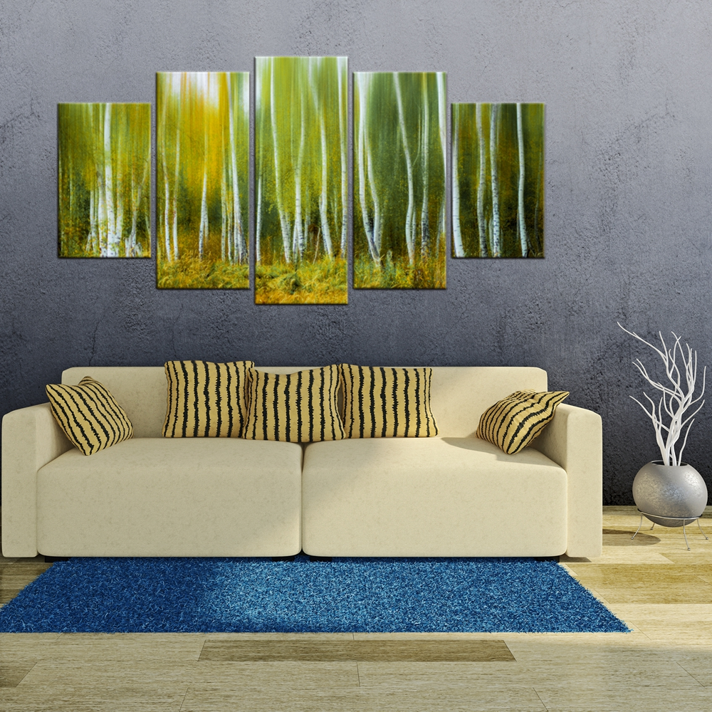 Green Trees Vintage Home Decoration Nature Landscape Picture For Dining Room Wall Decor Tree Painting Canvas Print Art Gift