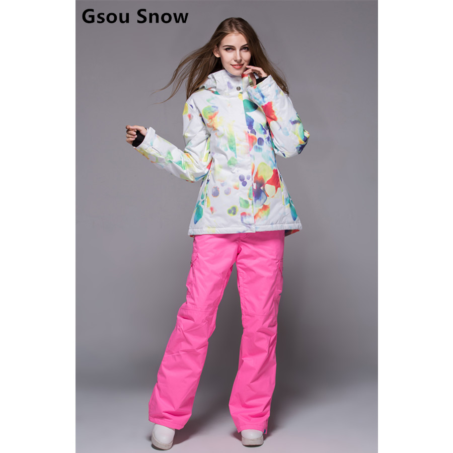 New Arrival Gsou Snow Womens Ski Suit Female Skiing Set White Background Ink And Wash Painting Series Jacket And Pink Pants
