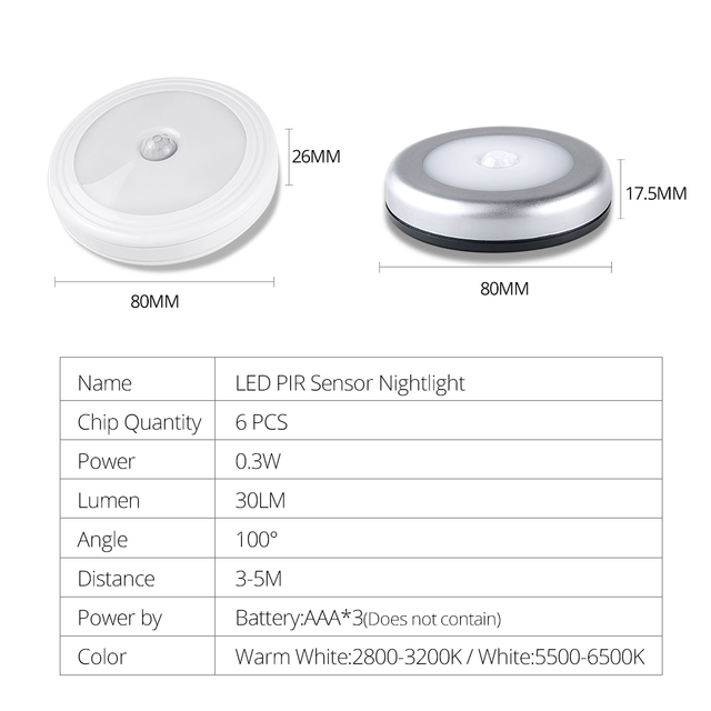 PIR Motion Sensor LED Under Cabinet light Auto OFF/ON Magnetic Diode Night Lamp 3 AAA Battery Powered Wireless Silver/White
