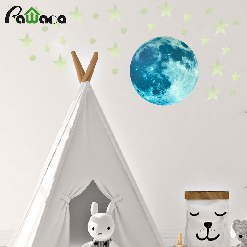 Luminous Moon Star Stickers Glow in the Dark Fluorescent Fairy Moon Stars Wallpaper Kids Room Decoration Home Decor