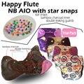Feliz flauta NB fralda AIO com estrela snap, NB fralda, Fralda NB, NB AIOwith uma costurado dentro de inserção. Fit bebê 0-3 meses ou 6-12 lbs