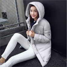 2017 winter new Korean version of Slim thin big yards long down padded jacket women cotton solid color casual fashion