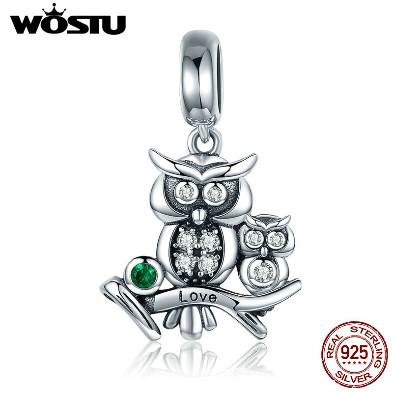 WOSTU Authentic 100% 925 Sterling Silver Cute Owl Love Story Charms fit original WST Bracelets DIY Jewelry Gift CQC425(China)