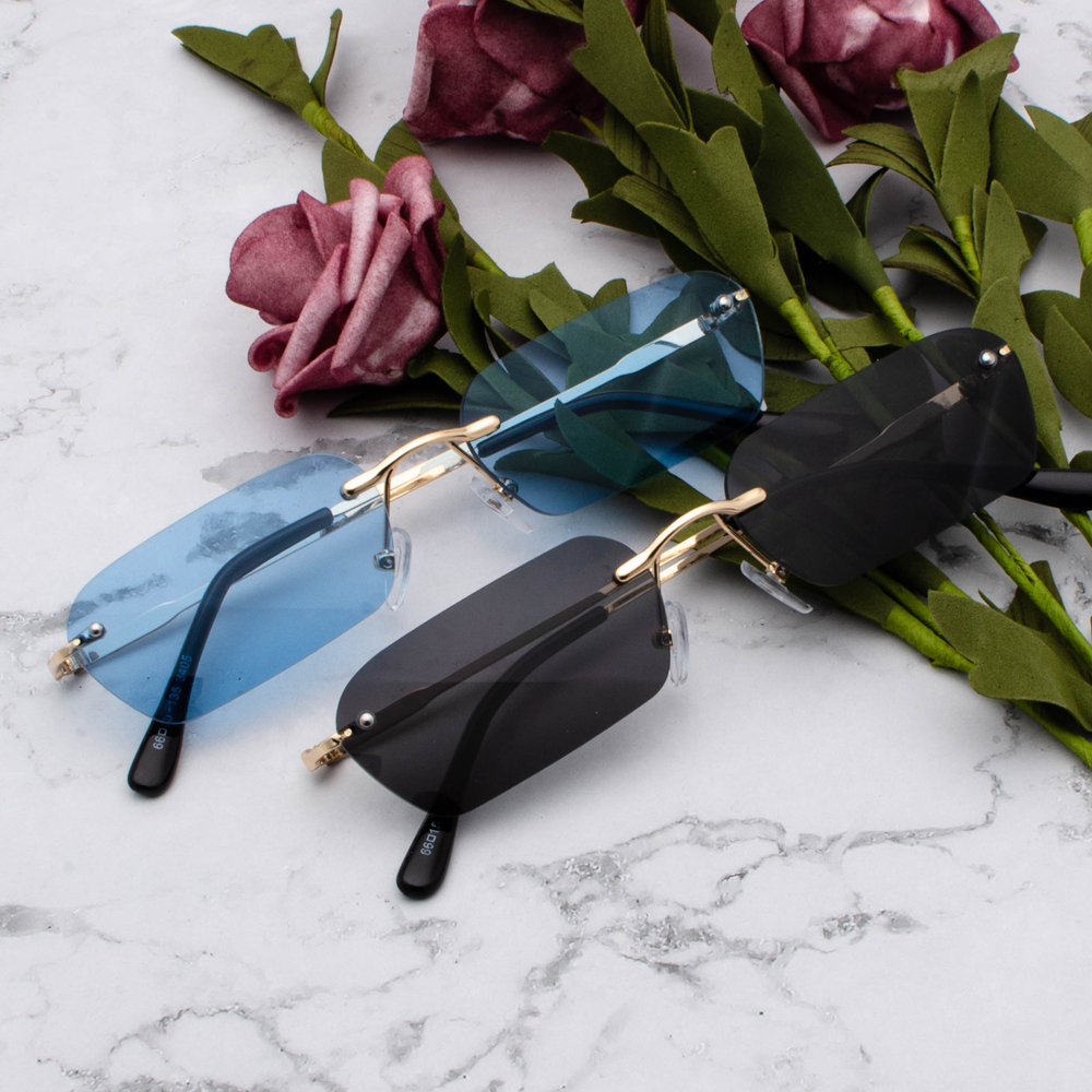 Peekaboo rimless rectangle sunglasses women clear color 2019 summer accessories square sun glasses for men small size uv400 5