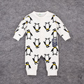 2016 primavera 100% algodão bebê menino roupas menina Baby Rompers roupa do bebê pinguim impresso roupas de bebê macacão de manga longa infantil