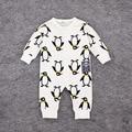 2016 primavera 100% algodón bebé ropa bebé niña ropa del bebé del pingüino impresa ropa de bebé de manga larga mono infantil