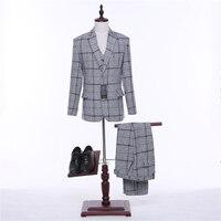 Fashion Mens Classic Suits Slim Light Gray Plaid Two Button Weeding Groom Tuxedo Formal 3 Pieces Suit Jackets+Pants+Vest