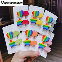 2PCS/set Rainbow Hairpin Acrylic Love Heart Star Hairgrip For Women Girls Hair Clips Barrettes Ins Side Clamp Accessories