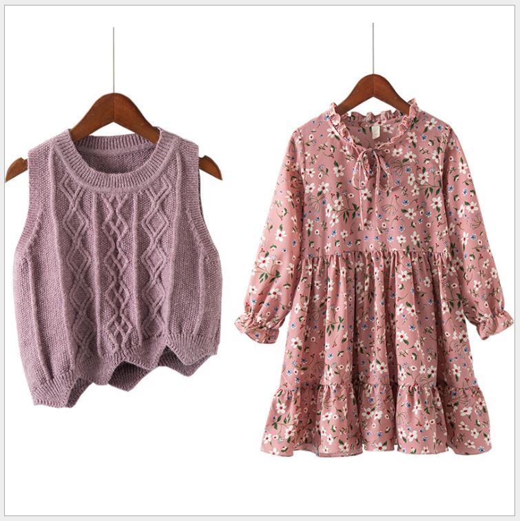 School girls floral cotton dress with vest fall clothing set 2pcs children cute casual clothing teenagers sweater vest clothes floral slash neck vest