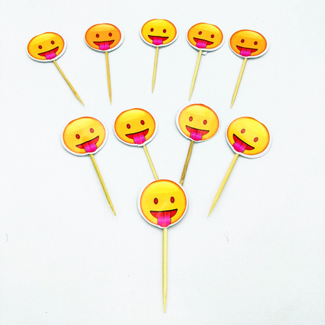 20pcs Emoji Cake Topper Theme Fruit Picker Happy Birthday Party Decoration Baby Shower