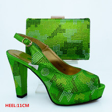 High Quality Italy Green Color Shoe and Bag Set Women Pumps Italian Matching Shoe and Bag Set African Wedding  CP63007