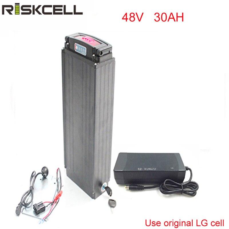 Au lithium ion Akku 48 v 30AH Ebike Batterie Porte-Bagages Arrière Batterie 48 v 1000 w bafang moteur avec feux Arrière pour LG cellulaire
