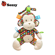 1pcs High Quality Sozzy Plush Baby Toy Sozzy Baby Rattle Toys Monkey Pull Bell Plush Toys Infant Appease Dolls Wholesale