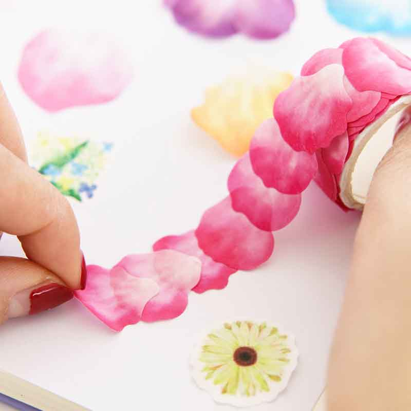 Japanese Cute Kawaii Flowers Petal Masking Washi Tape DIY Craft Decor Scrapbooking Sticker Roll Adhesive Paper Tape Stationery 2pcs original dream watercolor painting washi tape adhesive craft tape diy scrapbooking sticker masking craft tape 7m