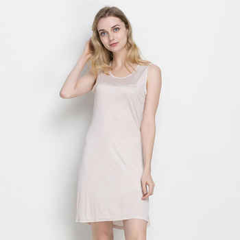100%REAL SILK women sleep dress solid Basic slip dress Anti emptied FULL slips sleeveless new underwear PINK WHITE BLACK NUDE