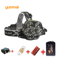 yunmai USB 20000LM 5*NEW xml T6+2XPE Headlamp Head Lamp lighting Light Flashlight Torch Lantern Fishing+18650 Battery+Charger yunmai 7 led headlamp new xml t6 usb headlight 18650 rechargeable battery flashlight forehead head lamp hunting and fishing q6