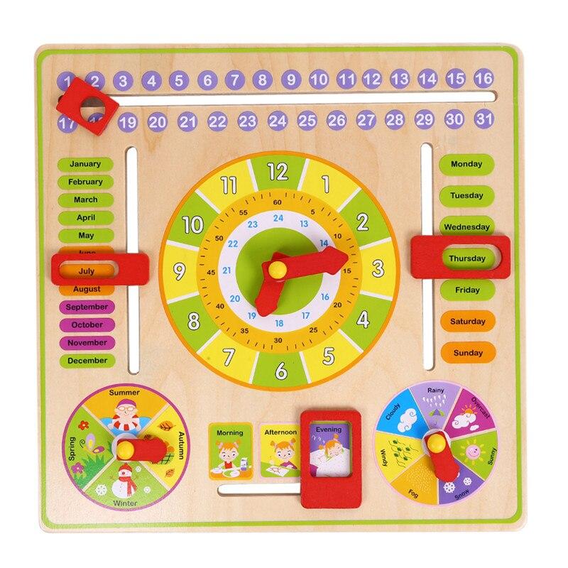 Multifonctionnel de Bande Dessinée En Bois Horloge Jouet Cognitif Saison Calendrier Date Enfants Jouet Éducatif Apprentissage Puzzle Jouets