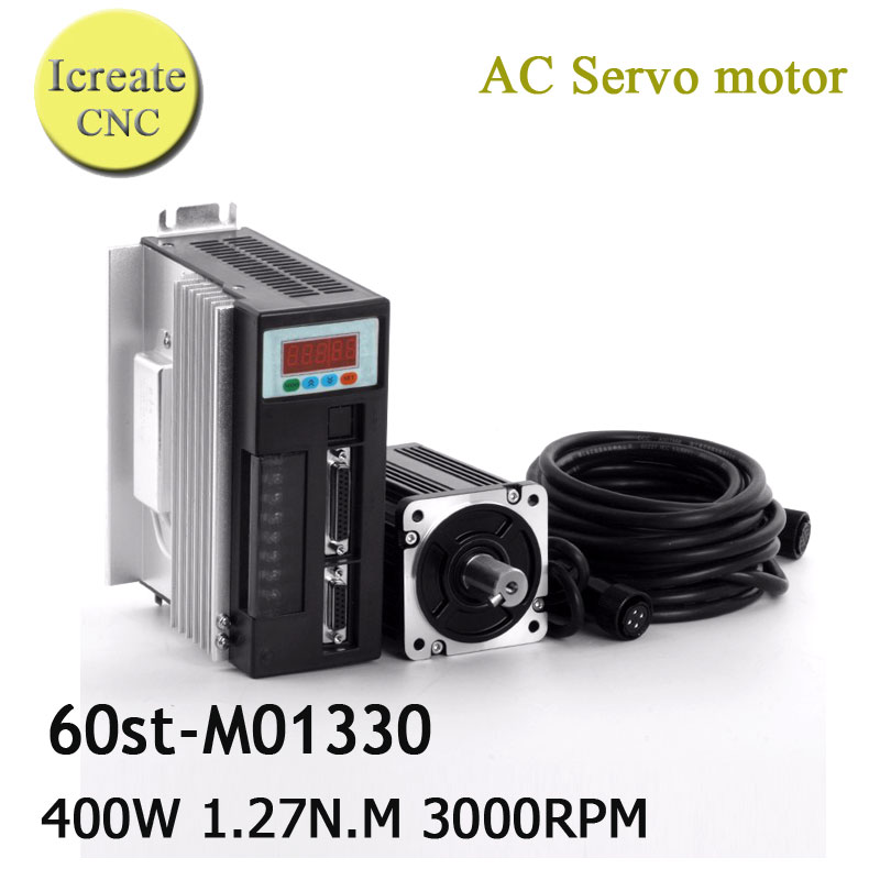 Free Shipping 400W Servo Motor Kit 1.27N.M 3000RPM 60ST AC Servo Motor 60ST-M01330 + Matched Servo Driver +FREE wire high quality ac servo motor 60st m00630 200w 3000rpm 0 637nm and matched servo driver ep100b 3a