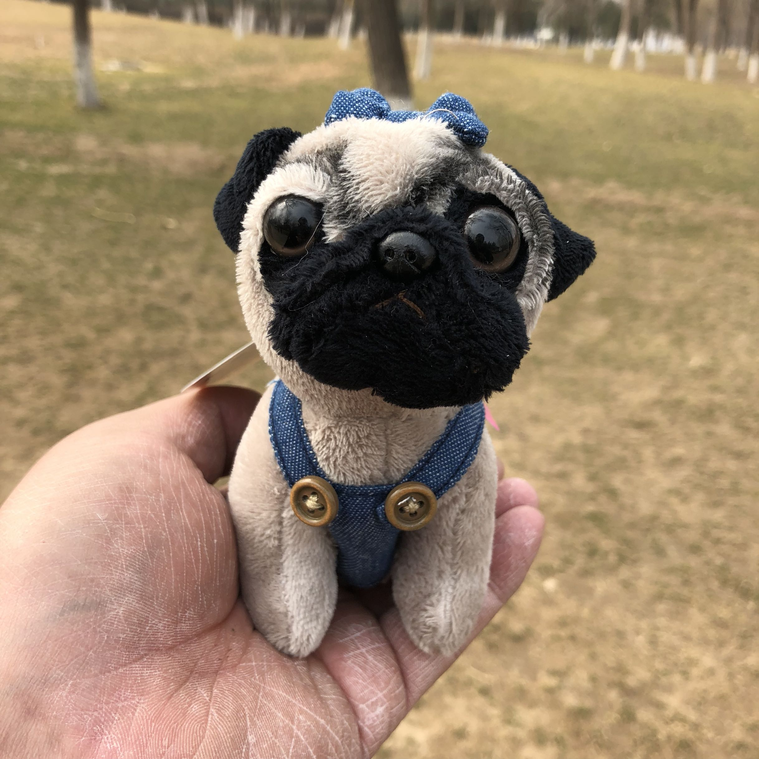 Cute Shar Pei Pug Jeans Denim suspenders plush toy christmas Mini dog keychain charms in Stuffed Plush Animals from Toys Hobbies