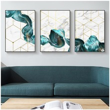 Waterproof Abstract Modern Decoration For Living Room Nordic Poster Wall Art Special Blue Canvas Painting Unframed