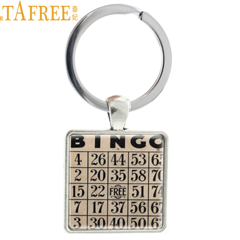 TAFREE Vintage fashion Bingo game Card picture pendant keychain pop Europe Wine Drinking game key chain ring holder jewelry AA67